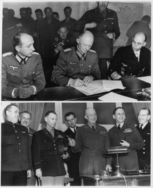 (Top)_-_German_officers_sign_unconditional_surrender_in_Reims,_France._(Bottom)_-_Allied_force_leaders_at_the_signing._-_NARA_-_195337.tif